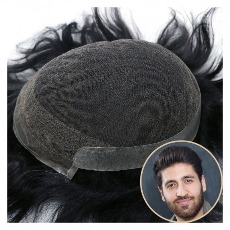 Atlas Men's Real Hair Toupee   Lace in Center with PU Around   Long and Thick Hairstyle for Men