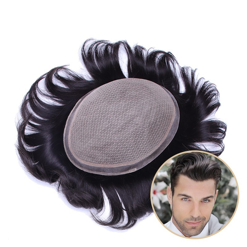 Poseidon Men's Receding Hairline Solution | Deluxe Silk Base with 1'' Thin Skin Around | Straight Hairstyle