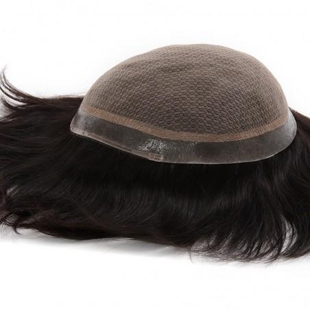 Poseidon Men's Receding Hairline Solution | Deluxe Silk Base with 1'' Thin Skin Around | Straight Hairstyle
