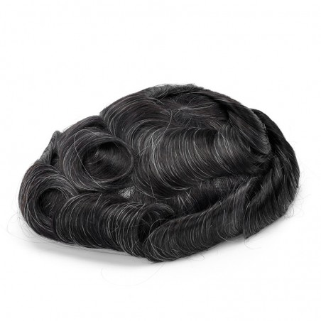 Crius Men's Half Wig | French Lace in Center with Polyskin All Around | Must Have for Traveling