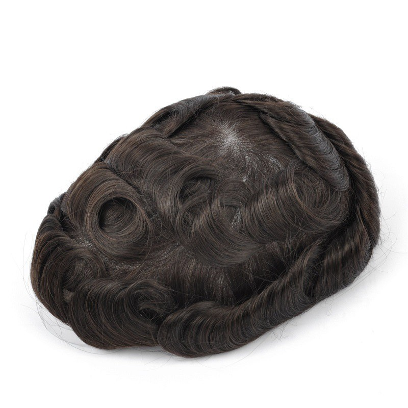 Atlas Men's Real Hair Toupee | Lace in Center with PU Around | Long and Thick Hairstyle for Men
