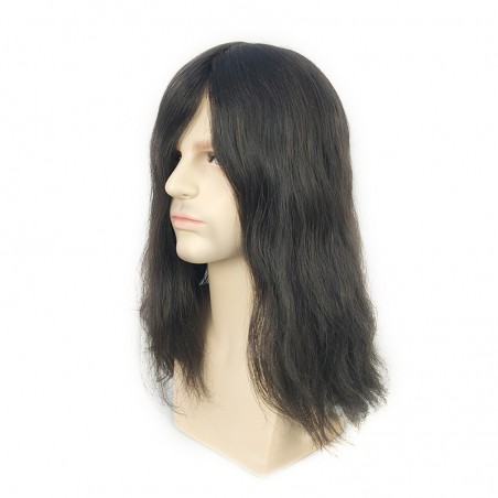 Noah 14'' Men's Long Hair Toupee in 1B Off Black | Men's Long Haircut Style