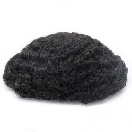 Oscar Black Male Hair Units in 12mm Rod Size Curl of Lace and PU Bases