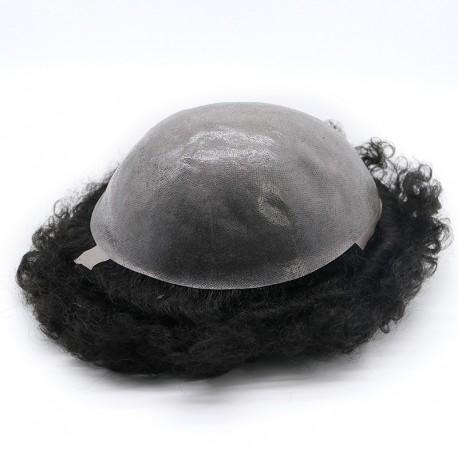 Unidades de cabello Oscar negro masculino en rizos de 12 mm de tamaño de varilla de encaje y bases de PU