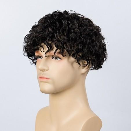 Adam Men Curly Hair Toupee 20mm Rod Size Curl | High End Hair Look